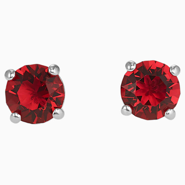 Attract Stud Pierced Earrings, Red, Rhodium plated - Swarovski, 5493979