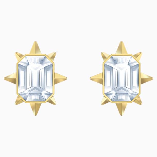 Tarot Magic Stud Pierced Earrings, White, Gold-tone plated - Swarovski, 5494019
