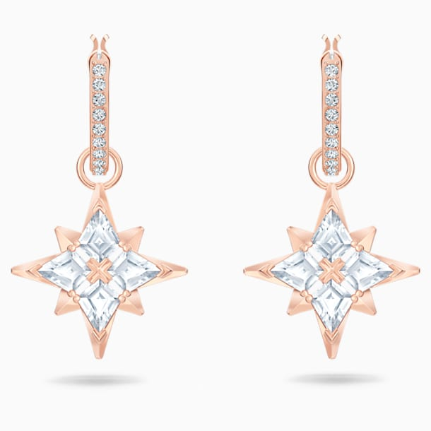 Swarovski Symbolic Star Hoop Pierced Earrings, White, Rose-gold tone plated - Swarovski, 5494337