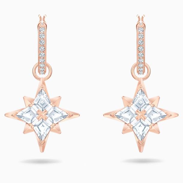 Swarovski Symbolic Star Halka Küpeler, Beyaz, Pembe altın rengi kaplama - Swarovski, 5494337
