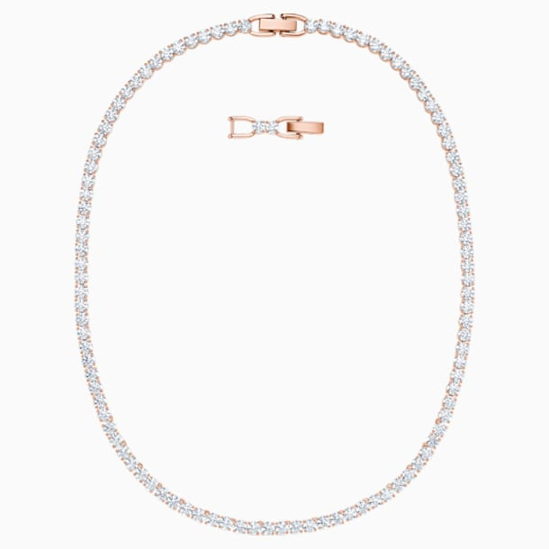 Tennis Deluxe Necklace, White, Rose-gold tone plated - Swarovski, 5494607