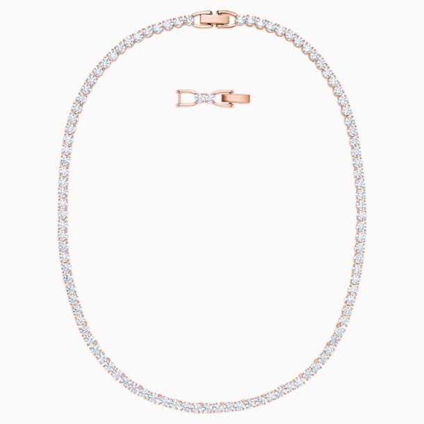 Collar Tennis Deluxe, blanco, Baño en tono Oro Rosa - Swarovski, 5494607