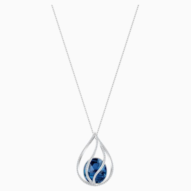 Energic Necklace, Blue, Rhodium plated - Swarovski, 5494874