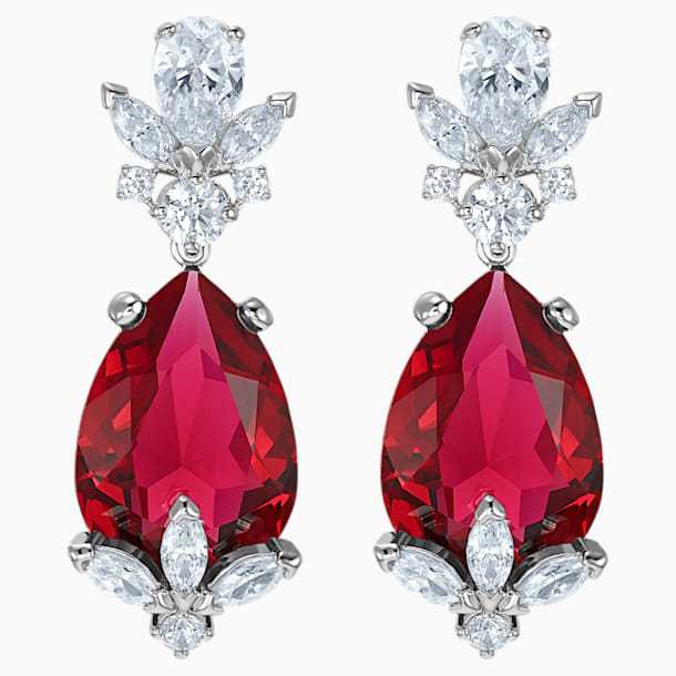 Louison Drop Pierced Earrings, Red, Rhodium plated - Swarovski, 5495078