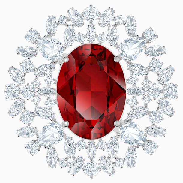 Brož Louison, červená, rhodiovaná - Swarovski, 5495263