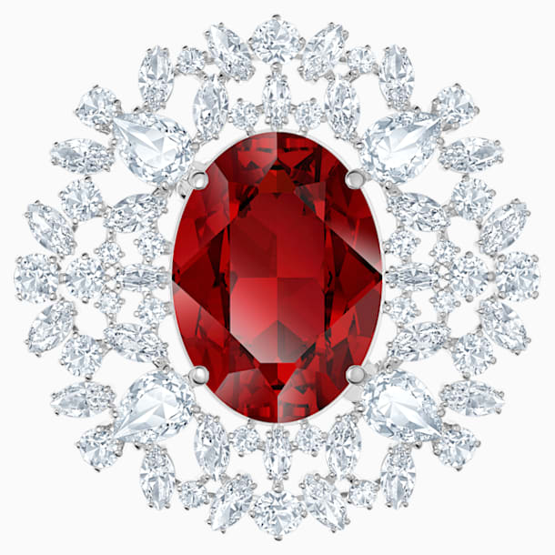 Broche Louison, rojo, Baño de Rodio - Swarovski, 5495263
