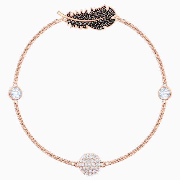 Swarovski Remix Collection Feather Strand, Black, Rose-gold tone plated - Swarovski, 5495340