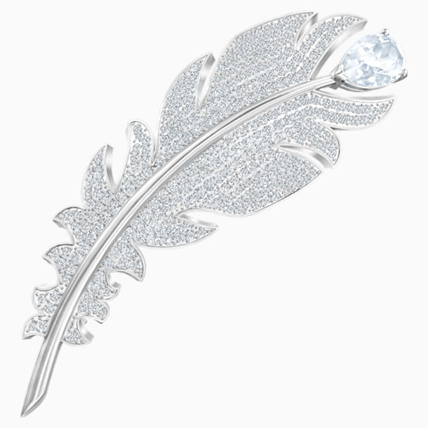 Nice Brooch, White, Rhodium plated - Swarovski, 5495417