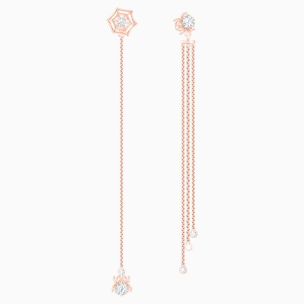 Precisely 穿孔耳環, 白色, 鍍玫瑰金色調 - Swarovski, 5496488