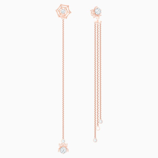Precisely Pierced Earrings, White, Rose-gold tone plated - Swarovski, 5496488