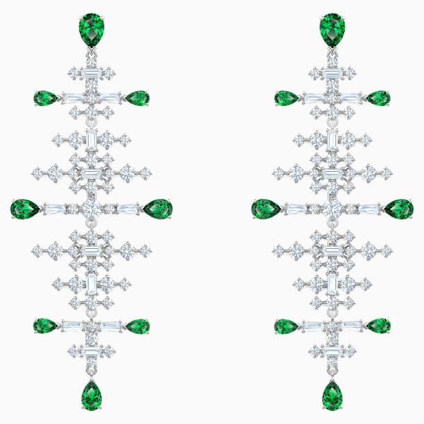 Perfection Chandelier Pierced Earrings, Green, Rhodium plated - Swarovski, 5496837
