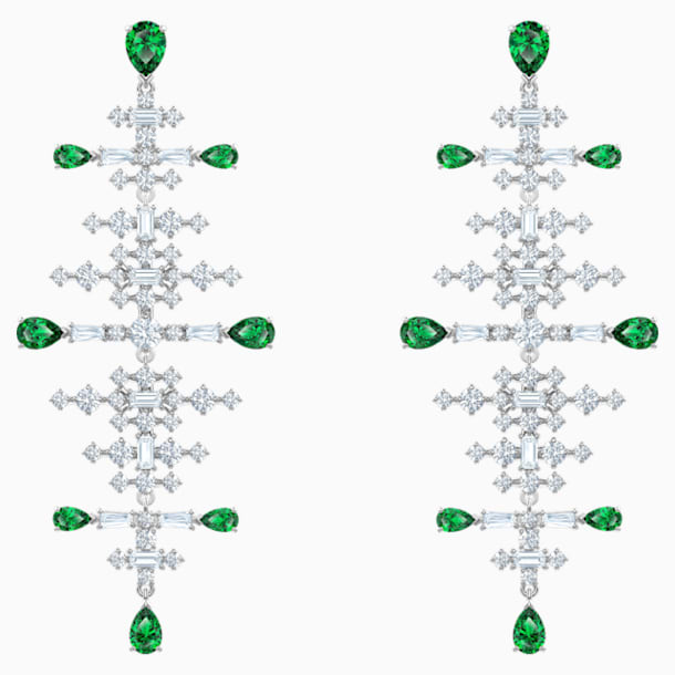 Perfection Chandelier Pierced Earrings, Green, Rhodium plated - Swarovski, 5496837