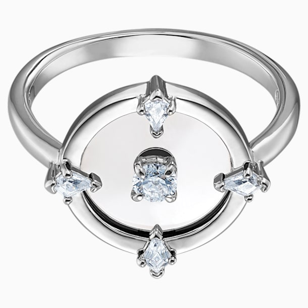 North Motif Ring, White, Rhodium plated - Swarovski, 5497233