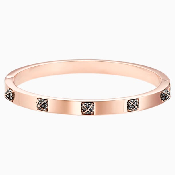 Tactic Bangle, Black, Rose-gold tone plated - Swarovski, 5497309
