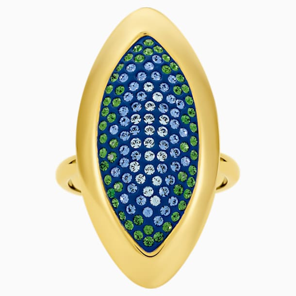 Bague Evil Eye, large, bleu, métal doré - Swarovski, 5497641