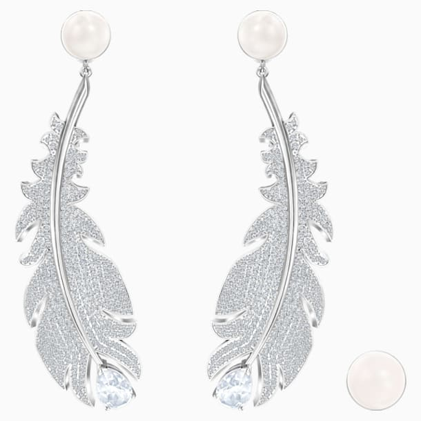 Nice Clip Earrings, White, Rhodium plated - Swarovski, 5497866