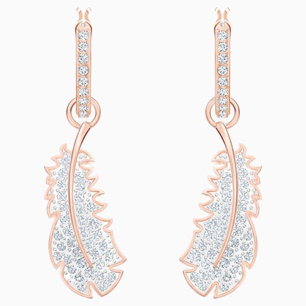 Nice Hoop Pierced Earrings, White, Rose-gold tone plated - Swarovski, 5497872