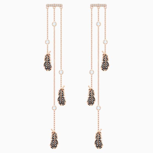 Kolczyki sztyftowe typu kandelabr Naughty, czarne, w odcieniu różowego złota - Swarovski, 5497873