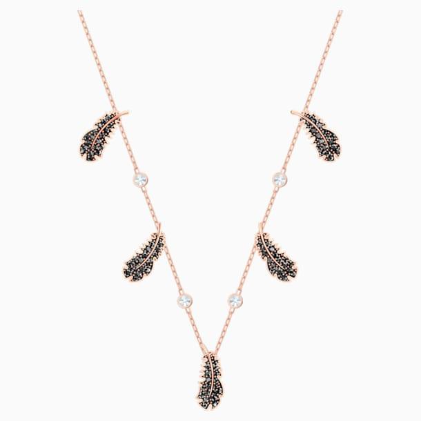 Obojkový náhrdelník Naughty, Černý, Pozlacený růžovým zlatem - Swarovski, 5497874