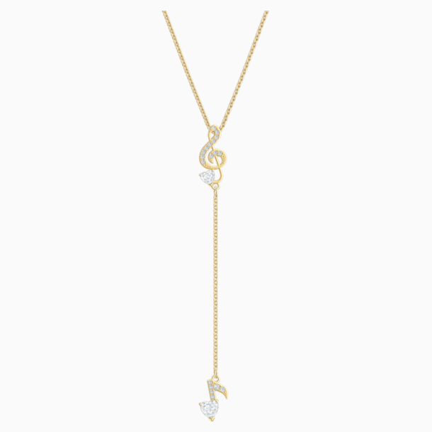 Pleasant Y Necklace, White, Gold-tone plated - Swarovski, 5497885