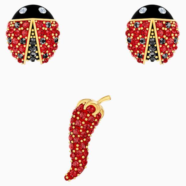 Lisabel 穿孔耳环套装, 红色, 镀金色调 - Swarovski, 5498791