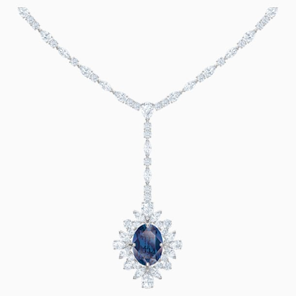 Palace Y Necklace, Blue, Rhodium plated - Swarovski, 5498812