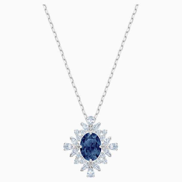 Palace Necklace, Blue, Rhodium plated - Swarovski, 5498831