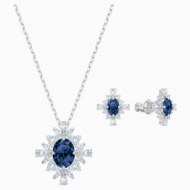 Palace Set, Blue, Rhodium plated - Swarovski, 5498840