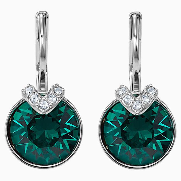 Bella V 穿孔耳環, 綠色, 鍍銠 - Swarovski, 5498876