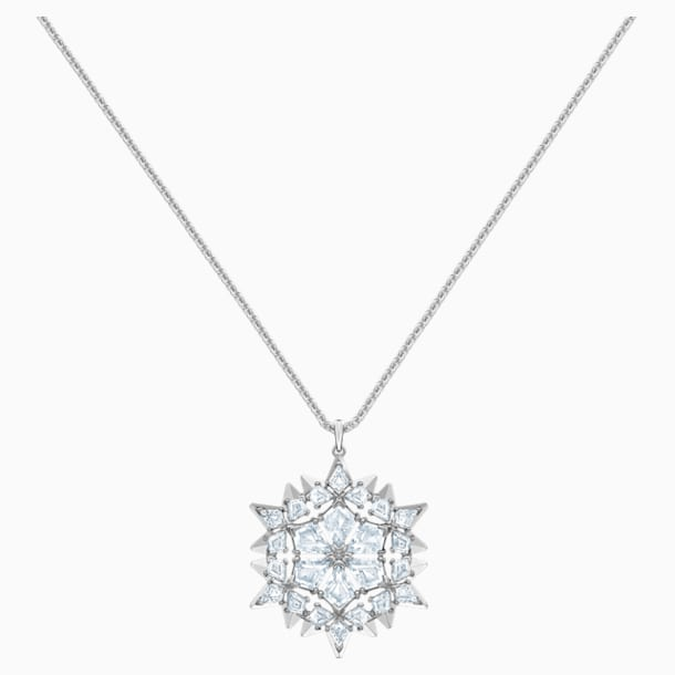 Magic Snow Pendant, White, Rhodium plated - Swarovski, 5498960