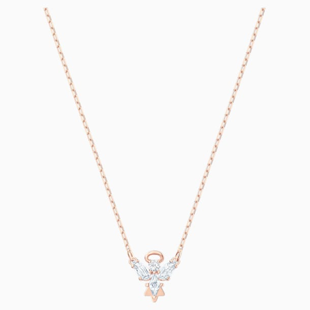 Magic Angel Necklace, White, Rose-gold tone plated - Swarovski, 5498966