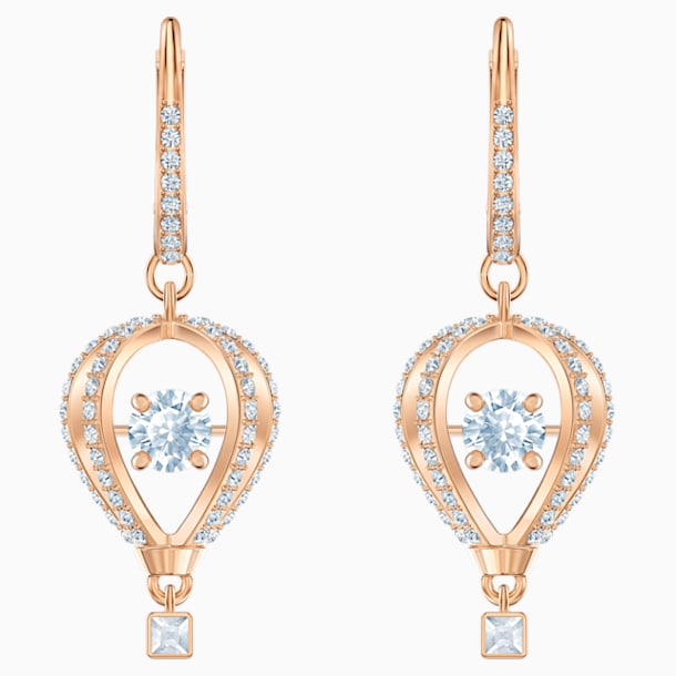 Into the Sky Drop Pierced Earrings, White, Rose-gold tone plated - Swarovski, 5499530
