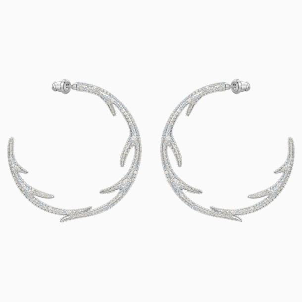 Polar Bestiary Hoop Pierced Earrings, Multi-colored, Rhodium plated - Swarovski, 5499626
