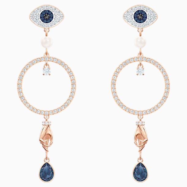 Swarovski Symbolic Hoop Pierced Earrings, Multi-coloured, Rose-gold tone plated - Swarovski, 5500642