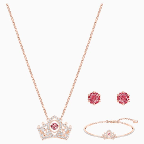 Bee A Queen Set, Red, Rose-gold tone plated - Swarovski, 5501075