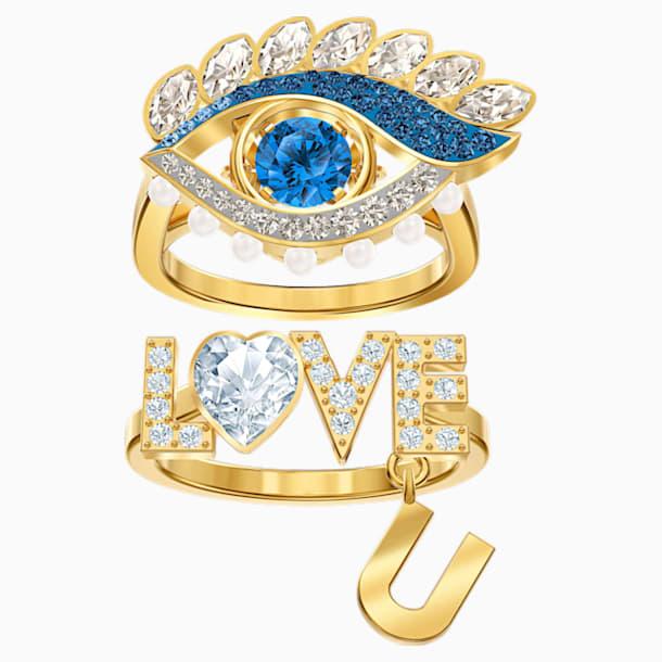 New Love 圖形戒指, 多色設計, 鍍金色色調 - Swarovski, 5502943