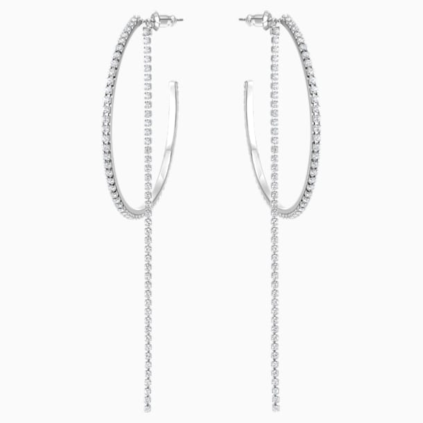 Fit Hoop Pierced Earrings, White, Stainless steel - Swarovski, 5504570