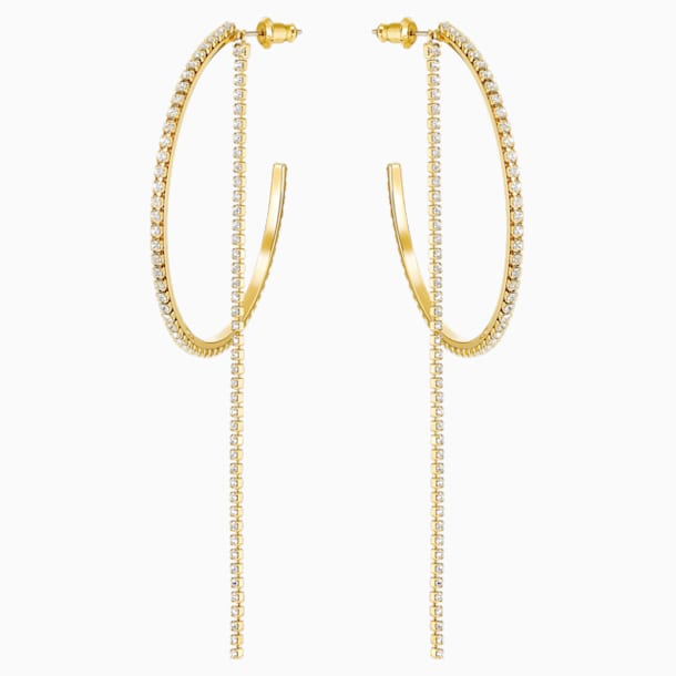 Fit Hoop Pierced Earrings, White, Gold-tone plated - Swarovski, 5504573