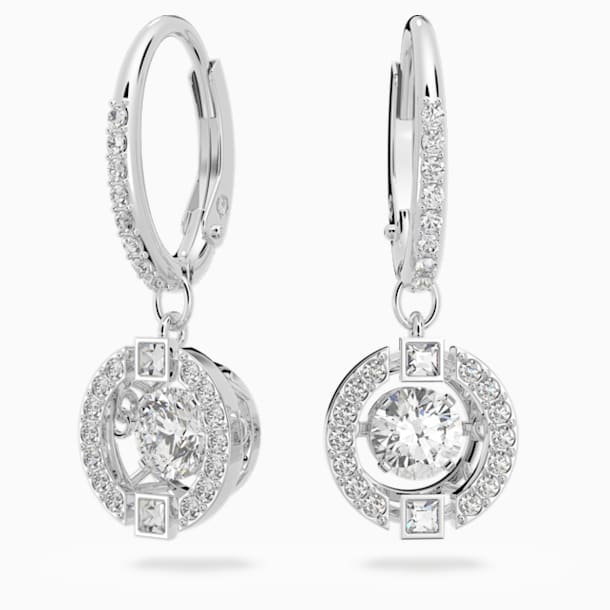 스와로브스키 Swarovski Sparkling Dance Pierced Earrings, White, Rhodium plated