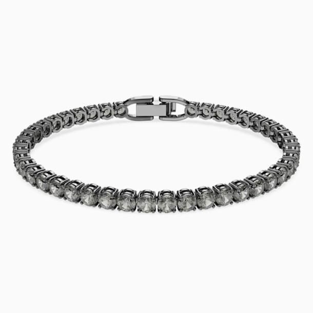Tennis Deluxe Bracelet, Black, Ruthenium plated - Swarovski, 5504678