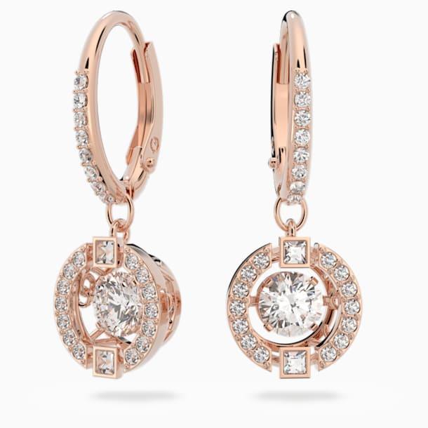 Brincos para orelhas furadas Swarovski Sparkling Dance, brancos, banhados com tom rosa dourado - Swarovski, 5504753