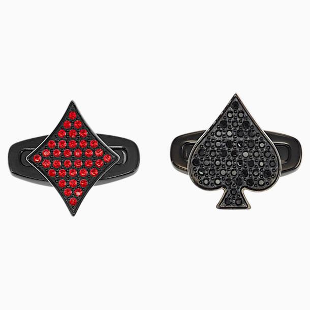 Unisex Tarot Magic mandzsettagomb, vörös és fekete színű, PVD bevonattal - Swarovski, 5504779