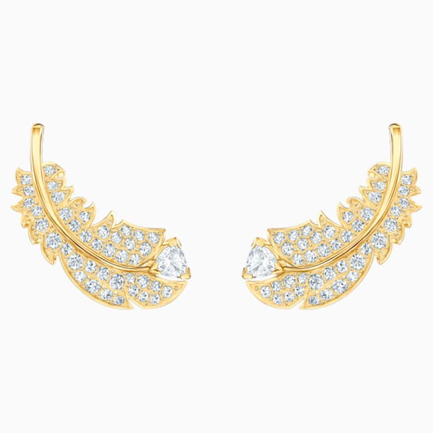 Nice Stud Pierced Earrings, White, Gold-tone plated - Swarovski, 5505623