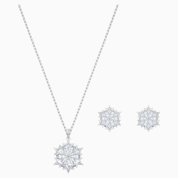 Magic Snowflake Set, White, Rhodium plated - Swarovski, 5506235