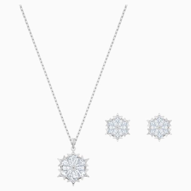 Magic Snowflake Set, Beyaz, Rodyum kaplama - Swarovski, 5506235