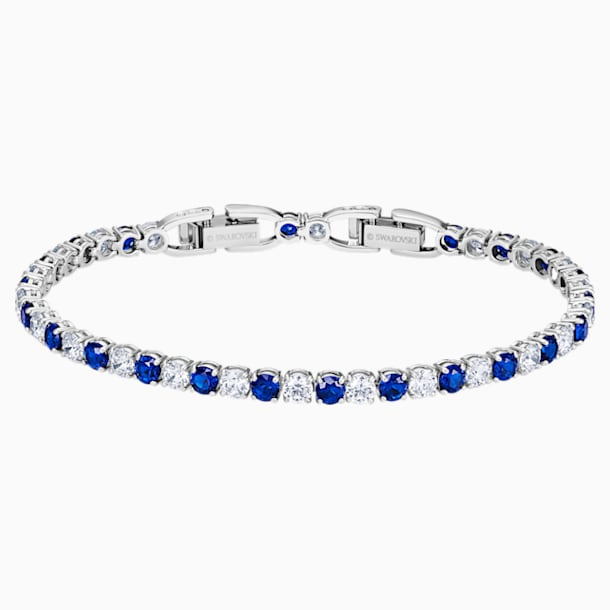 Braccialetto Tennis Deluxe, blu, placcato rodio - Swarovski, 5506253