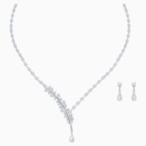 Nice-set, Wit, Rodium-verguld - Swarovski, 5506752