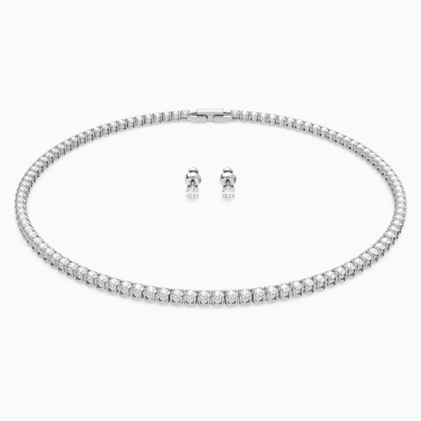 Set Tennis Deluxe, bianco, Placcatura rodio - Swarovski, 5506861