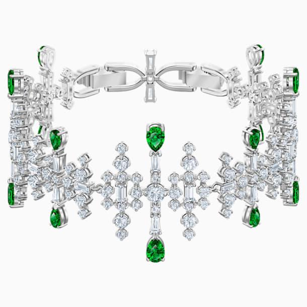 Braccialetto Perfection, verde, Placcatura rodio - Swarovski, 5507695