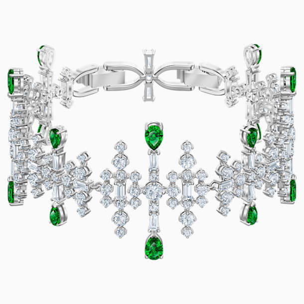 Perfection Bracelet, Green, Rhodium plated - Swarovski, 5507695